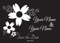 Black and White Flowers Save the Date Announcement